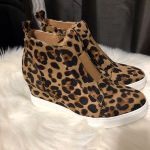 Shoes - Zoey Wedge Sneaker Nubuck Leopard Print